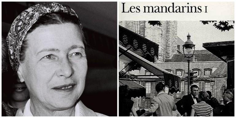 Simone de Beauvoir in 1967 │© MILNER MOSHE ; Simone de Beauvoirs' Les Mandarins │© Gallimard