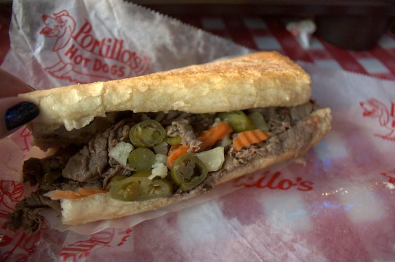 Italian beef sandwich from Portillo's