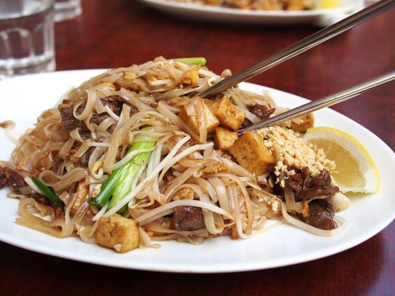 Pad Thai with chopsticks