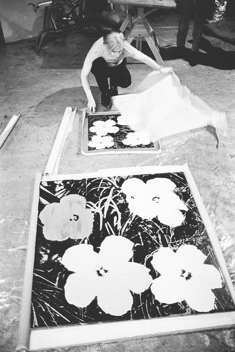 Stephen Shore: Andy Warhol silk-screening Flowers, 1965-7 (page 46).