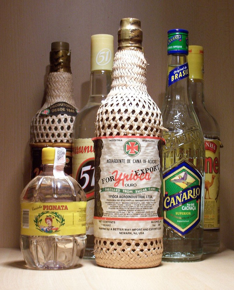 Various brands of cachaca