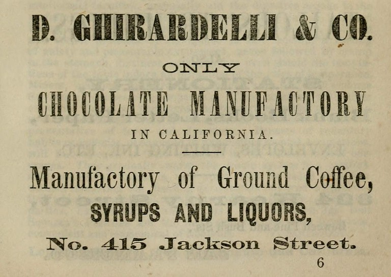 Early Ghirardelli Advertisement © Henry Payot/Wikipedia