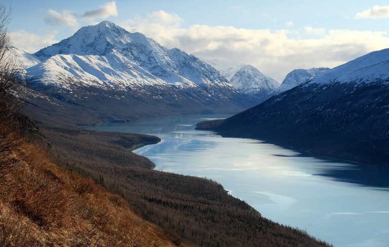 View of Eklutna Lake from the Twin Peaks Trail, near Anchorage, Alaska