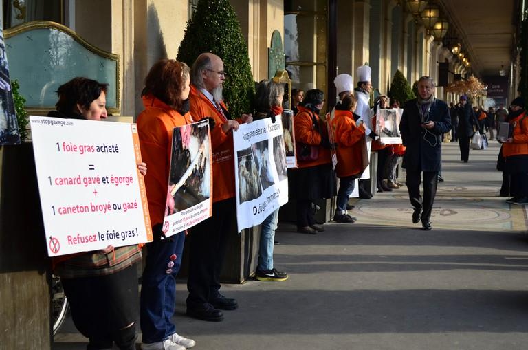 Anti-foie gras protesters outside Le Meurice hotel in Paris │© Blandine Le Cain