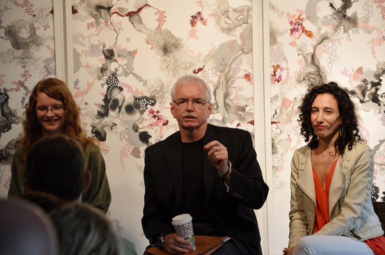 'Unconscious Bias and the Art World,' moderated by Susan Mumford, Founder and CEO of the Association of Women Art Dealers (AWAD) in partnership with Aqua Art Miami. (l to r) Susan Mumford; Steven Alan Bennett and Sara Kay. Photo Credit | Lisa Morales