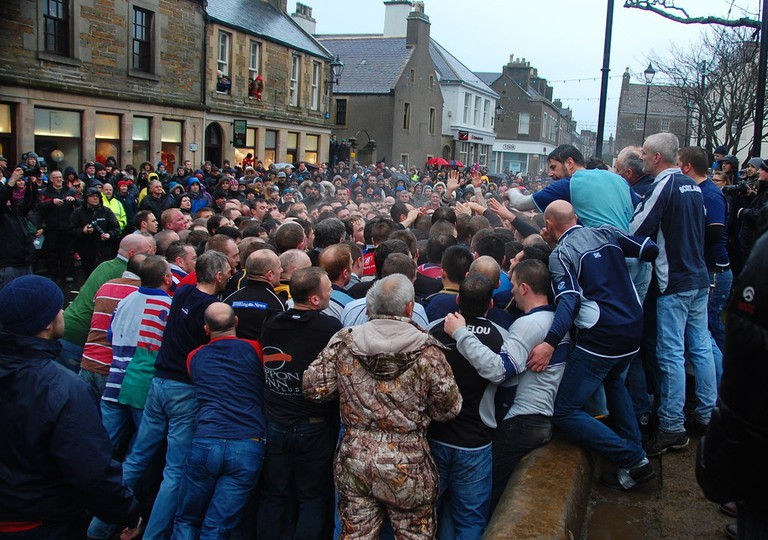 New Year's Day Men's Ba', Broad Street, Kirkwall 2015