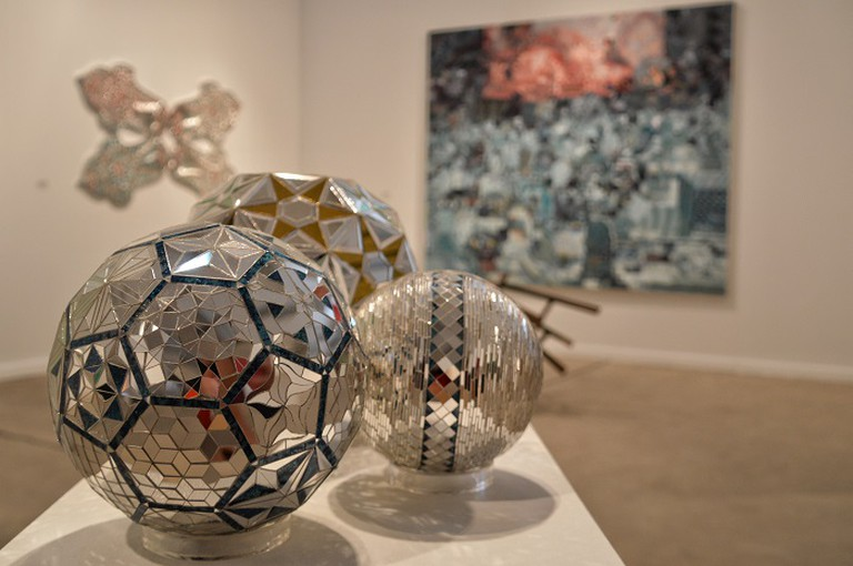 Haines Gallery exhibited mirrored mosaics and reverse-glass paintings by prominent Iranian artist Monir Shahroudy Farmanfarmaian. Photo Credit | Lisa Morales