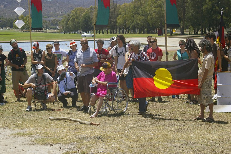 Invasion Day protest at the Aboriginal Tent Embassy in Canberra © Bidgee_Wikimedia Commons