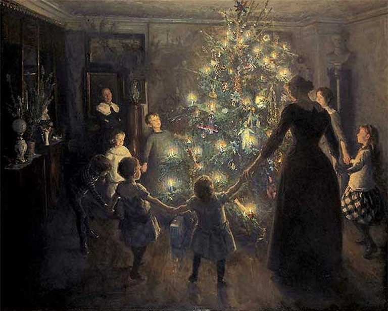 Glade jul (Happy Christmas) by Viggo Johansen (1851-1935) | © WikiCommons