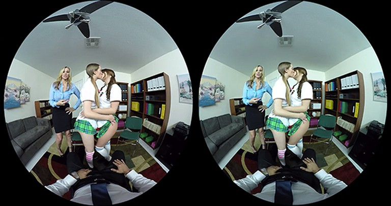 A VR scene from the male point of view. | Courtesy Naughty America.