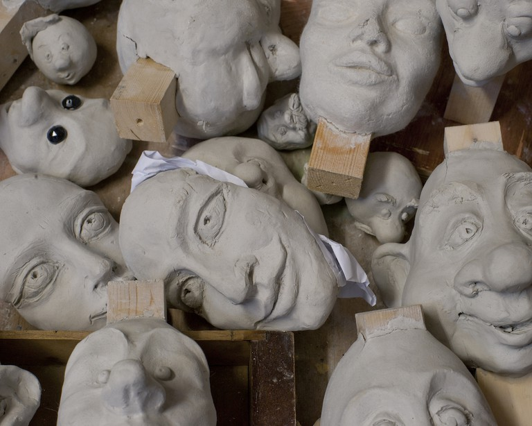 Puppet heads at the Lambert Theatre workshop | Courtesy of The Lambert Puppet Theatre