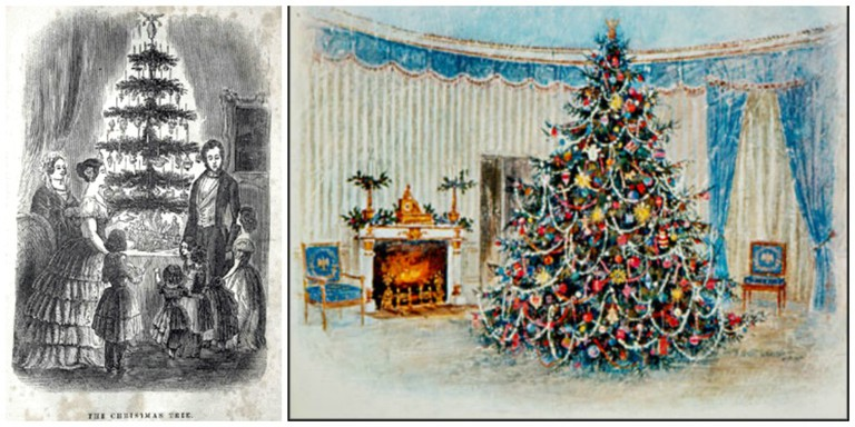 Left: The Queen's Christmas tree at Windsor Castle published in The Illustrated London News, 1848 | © WikiCommons. Right: President Johnson's 1967 White House Christmas card | © Robert Laessig/WikiCommons