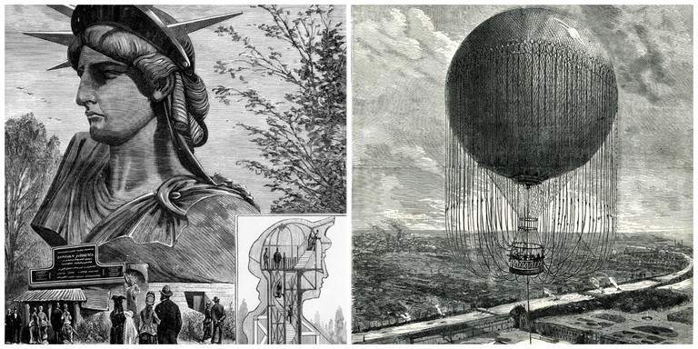 Pland for the Statue of Liberty, 1878│© BIE ; Sketches for the captive balloon│© BIE