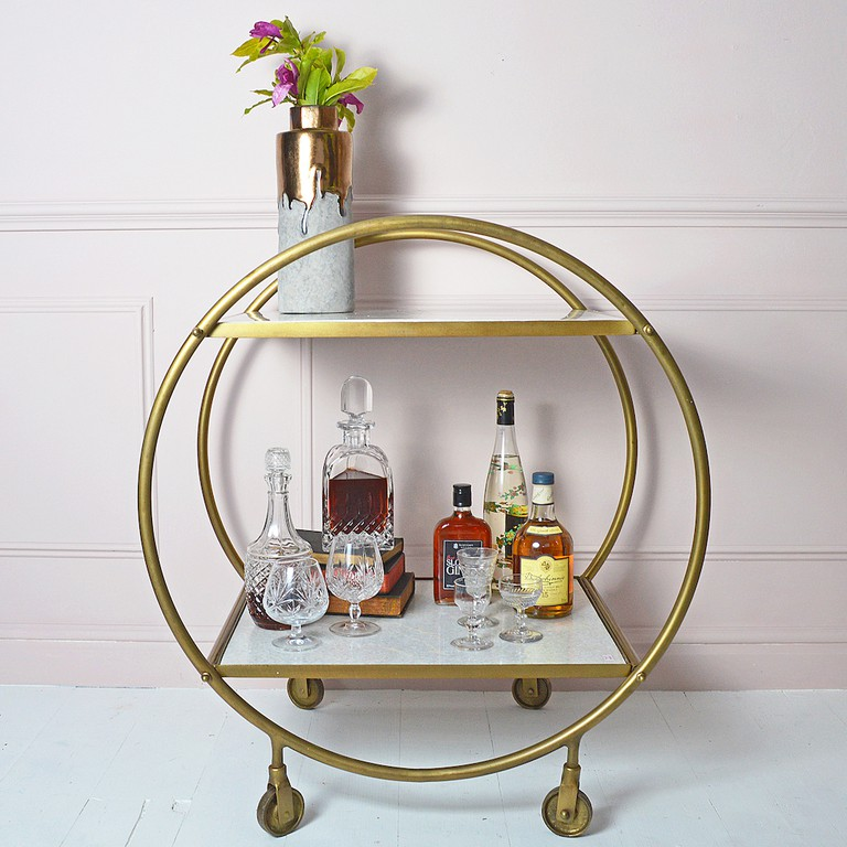 Round Marble and Brass drinks trolley, costs £345