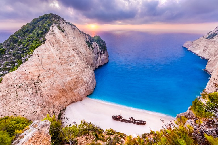 Navagio Beach at sunset
