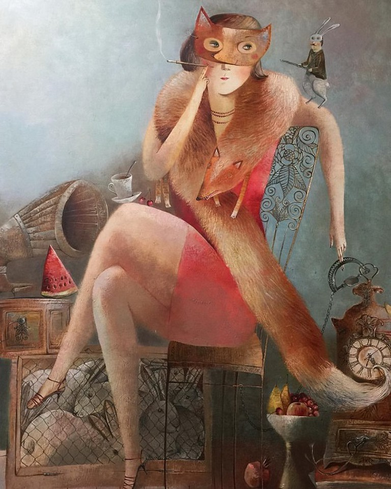 """""""The Fox and Hunt"""" and other works by Anna Silivonchik on exhibit at Think + Feel Contemporary. Courtesy Photo 