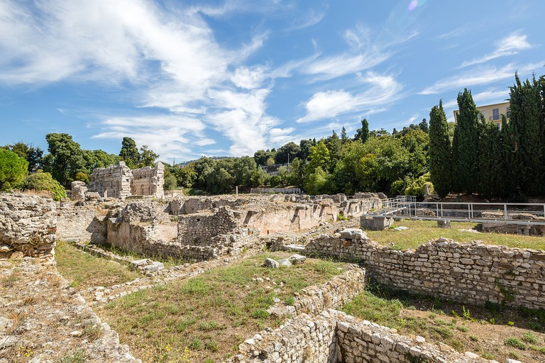 Remains of the Roman baths in the old ruins of Cemenelum, in Cimiez, Nice