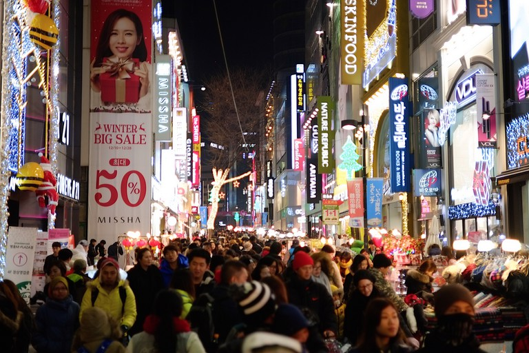 Shopping crowds in Myeongdong, Seoul