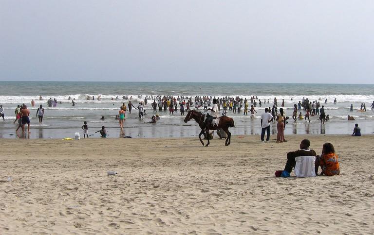 Beachgoers at Labadi beach