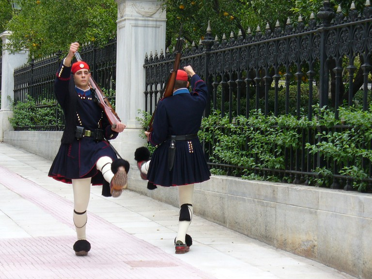 Evzones marching