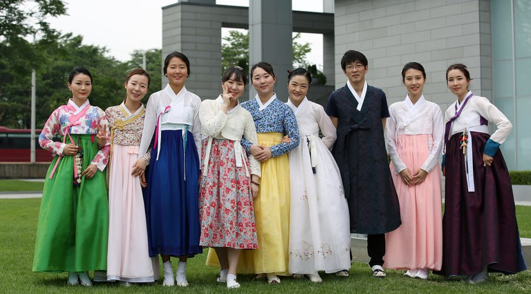 A mix of traditional and contemporary hanbok