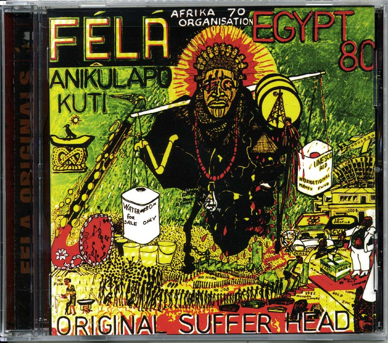 One of the iconic Fela album covers, designed by Lemi Ghariokwu