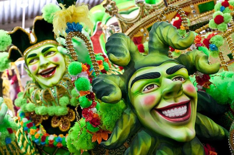 A spectacular float prepares for carnival in Brazil