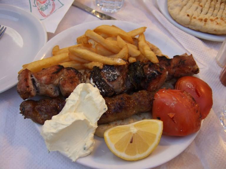 A plate of souvlaki │