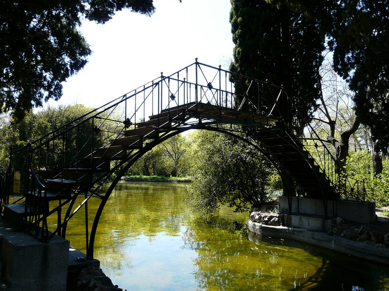 The iron foot bridge in the park