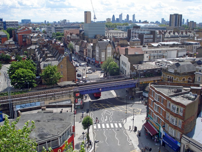 An aerial shot of Hackney Central