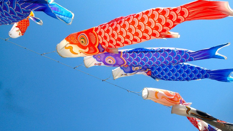 Carp windsocks, also known as kites or streamers, for children's day