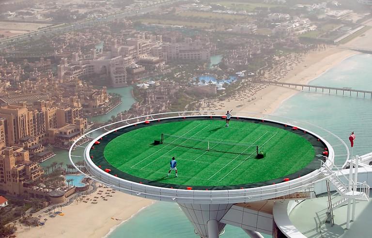 Tennis match on the Burj Al Arab helipad