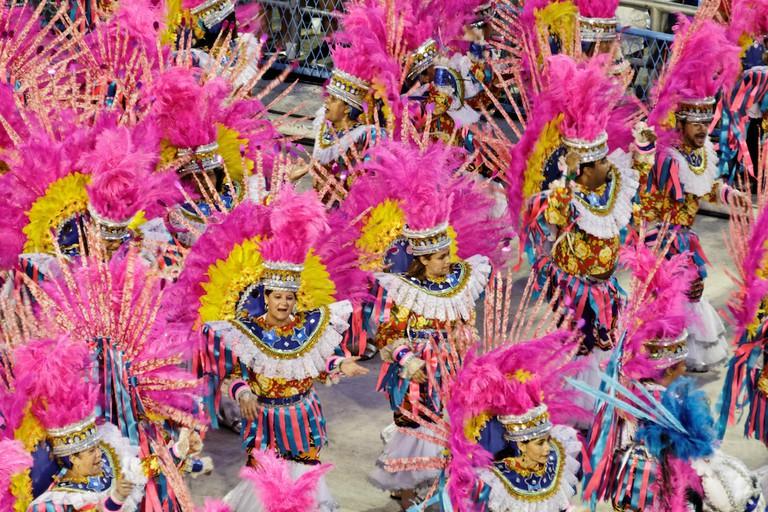 A colorful carnival performance in Rio de Janeiro