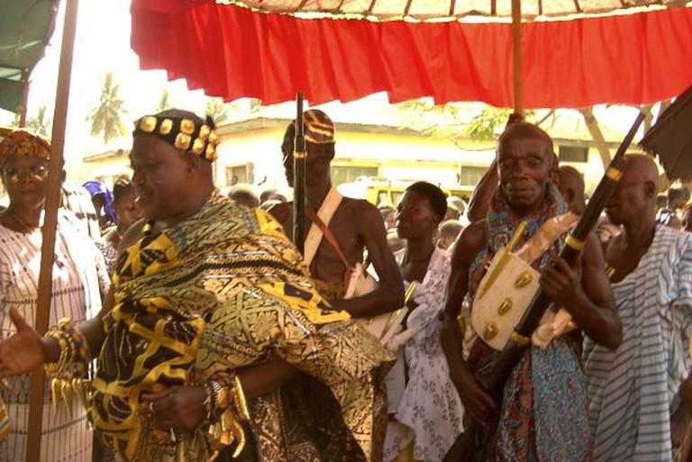 A chief clad in kente.