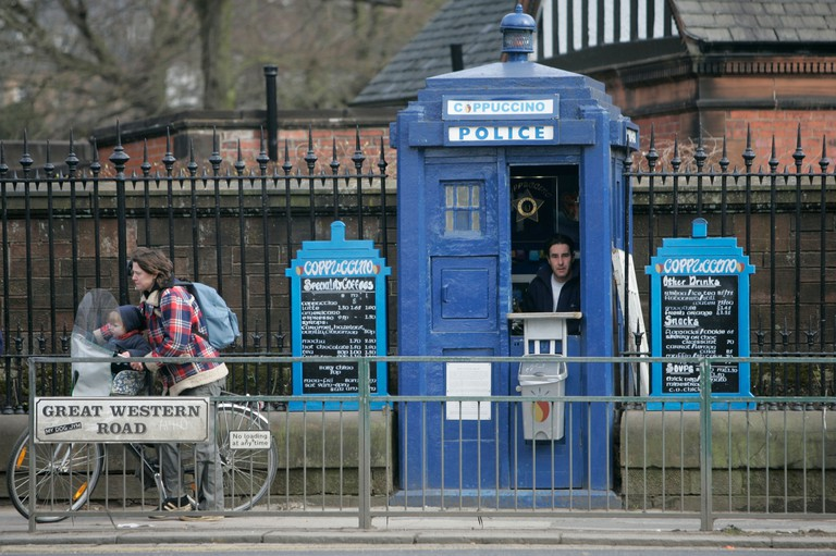 A police box turned into a coffee shop, great western road, glasgow, scotland