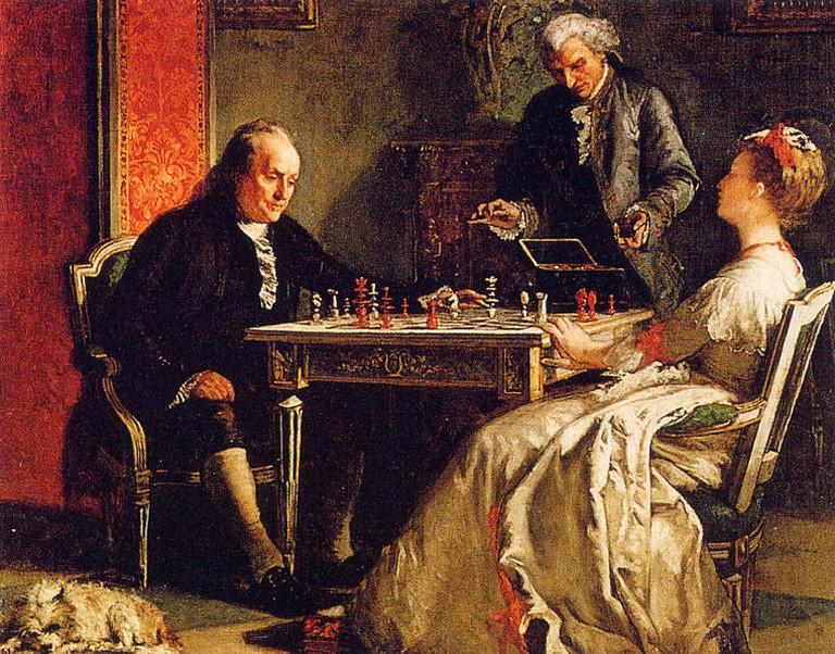 Benjamin Franklin playing chess