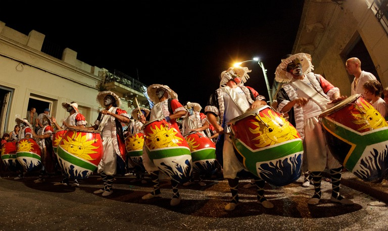 Candombe drummers in Barrio Sur