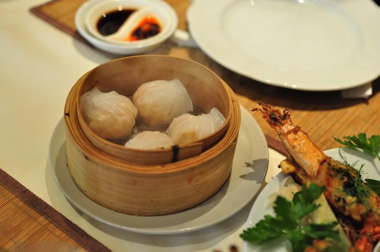 Dim sum served in a bamboo basket