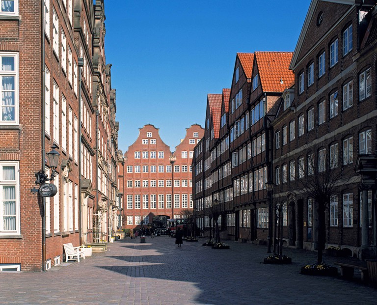 Peterstrasse district in Hamburg, Germany.