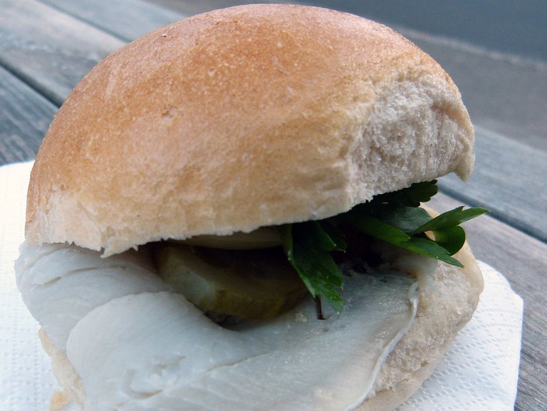 Fish sandwich with pickled herring