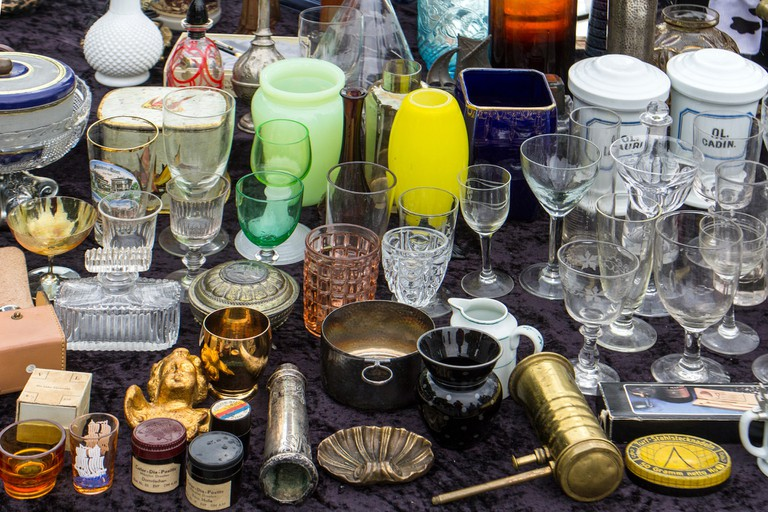 Various bric-a-brac at a market stand