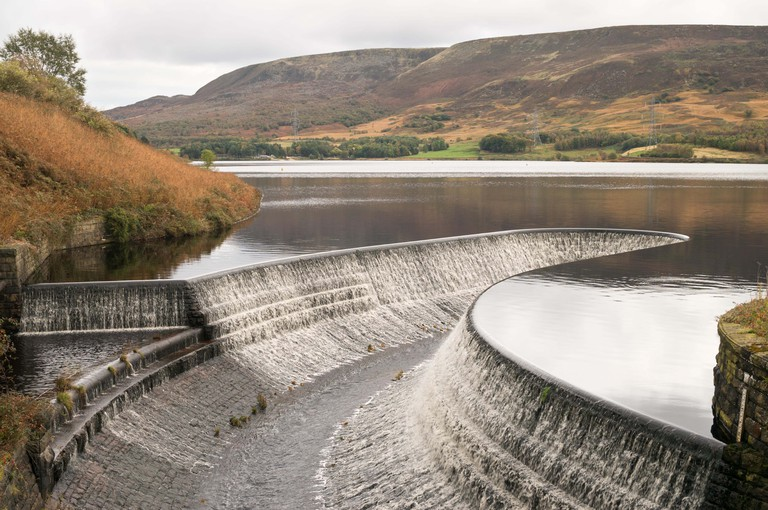 Torside reservoir spillway , near Crowden, Derbyshire, England, UK