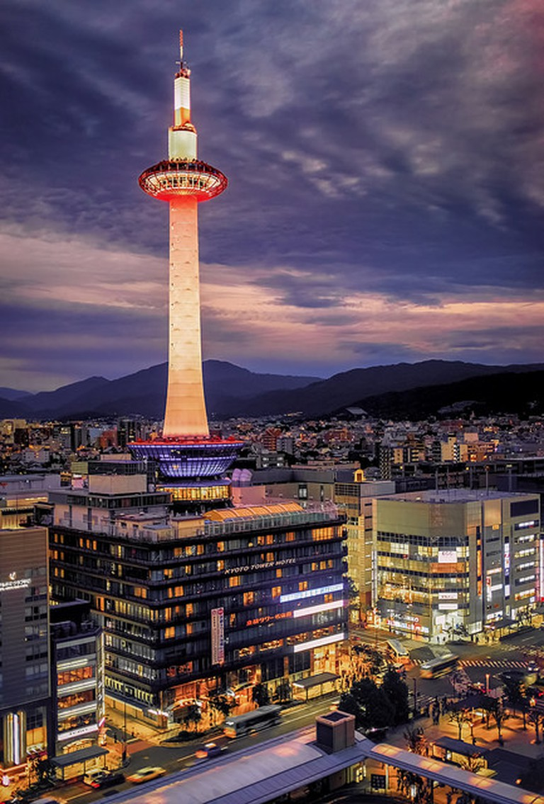 Kyoto Tower Illuminated at Night