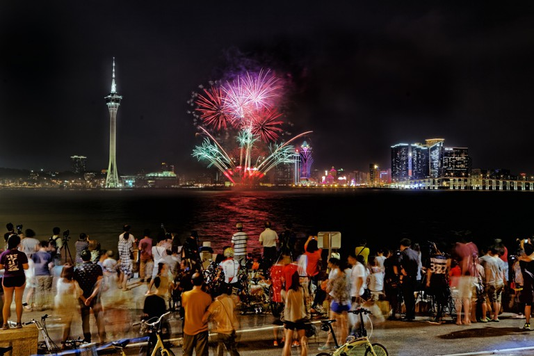 Crowds gather to watch the annual fireworks display contest in Macau