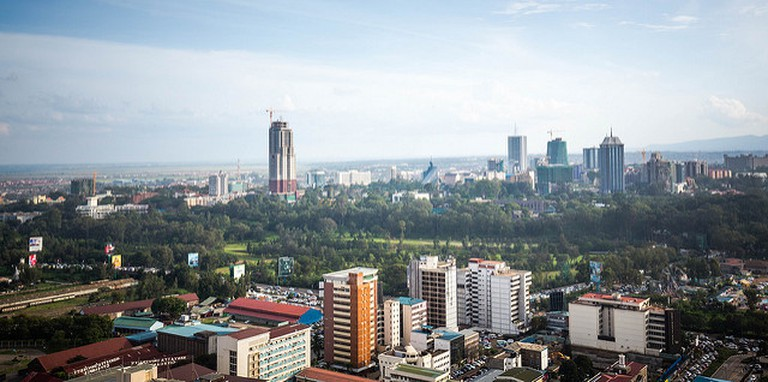 View of Nairobi downtown, railways golf course and Upperhill from KICC rooftop