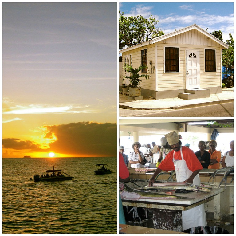Clockwise from left: sunset, a chattel (i.e. movable) cottage, Bridgetown fish market | © SteveR / Flickr