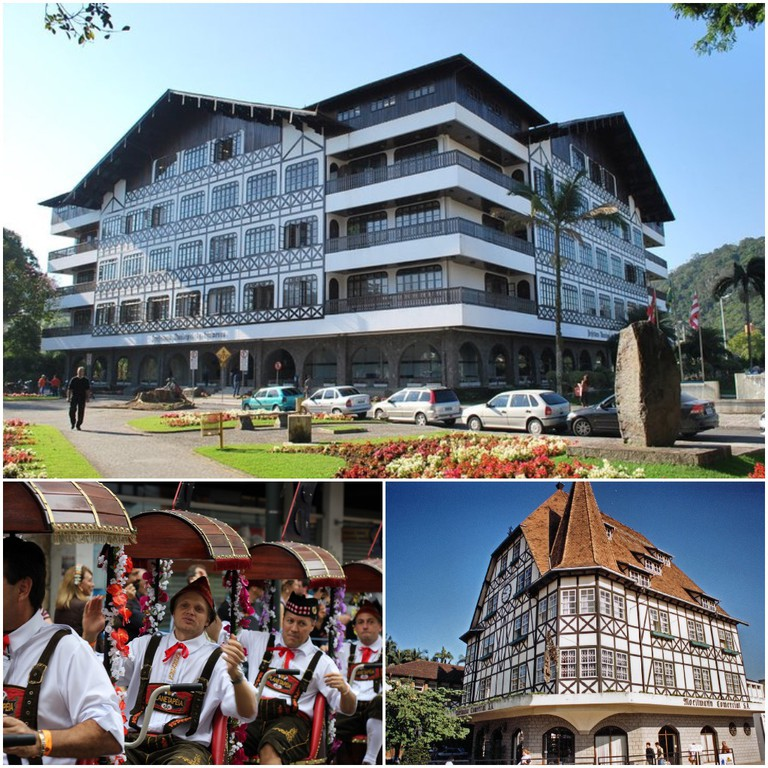 Clockwise from top: The town hall in Blumenau, Santa Catarina | © Anderson Rancan/Flickr; German-influenced architecture, Blumenau, Santa Catarina | © Henrique Oscar Loeffler/Flickr; Oktoberfest in Blumenau is a big annual event | © Vitor Pamplona/Flickr