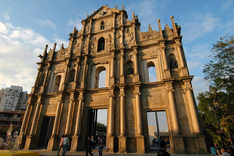The facade of the Ruins of St. Paul's in Macau as the sun sets.