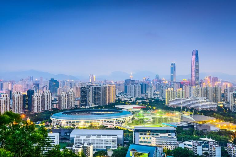 Shenzhen, China financial district skyline