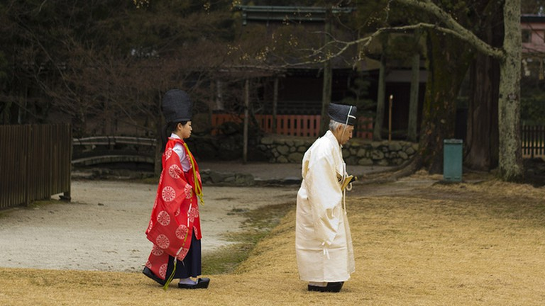 Shinto priest and priestess at the Kamigamo Jinja Shrine